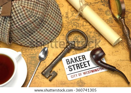 Private Investigation Concept. Sherlock Holmes Deerstalker Cap, Full Teacup, Sign BAKER STREET, Roll Of Paper, Vintage Magnifier, Retro Key, Shabby Book and  Notes On The Old Map Background. Top View. - stock photo