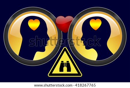 Private Investigation in Divorce. Concept sign of a private detective observing spouses to investigate infidelity  - stock photo