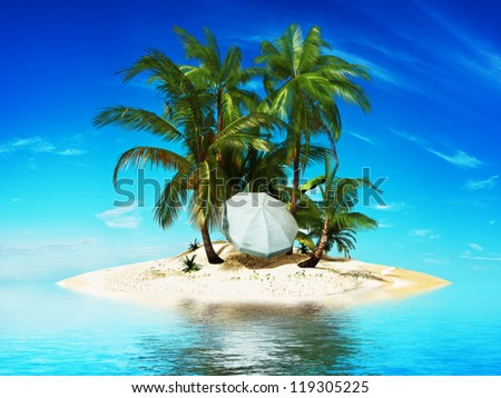 Private island,Paradise island with palms and a beach umbrella - stock photo