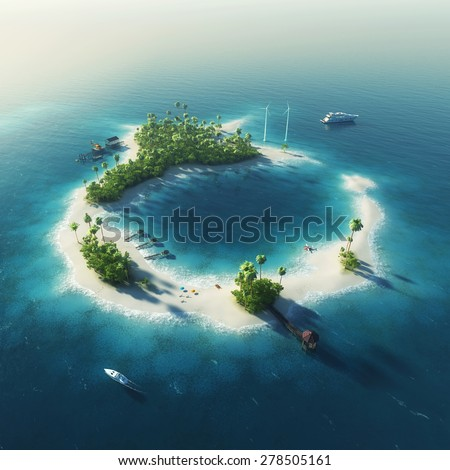 Private island. Paradise summer tropical island with wind turbines energy and bungalows - stock photo