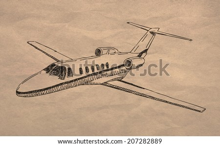 Private jet airplane drawing on old crumpled paper texture