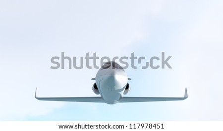 Private jet, CG render plane and clouds/Private jet - front/CG - stock photo