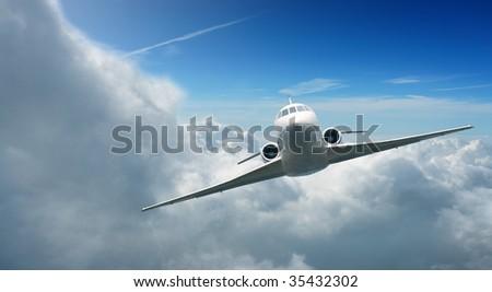 Private JET in the sky - stock photo