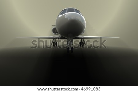 Private jet is taking of with dramatic light and fog - stock photo