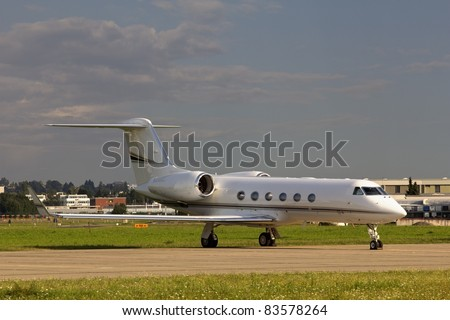 private jet on the airport - stock photo