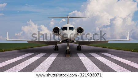 Private jet on the runway ready for take off