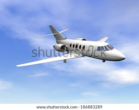 Private jet plane flying in cloudy blue sky