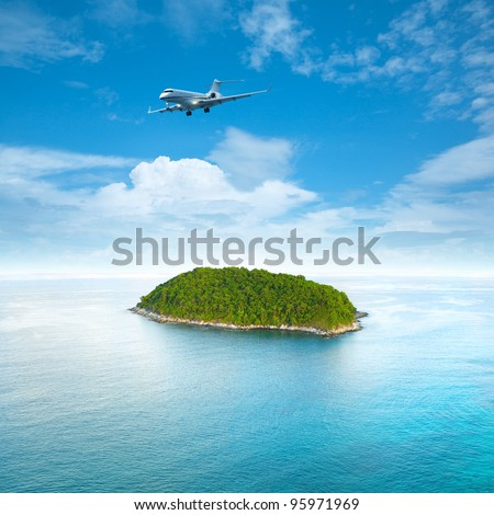 Private jet plane is over a tropical island. Luxury style living concept. . Square composition. - stock photo