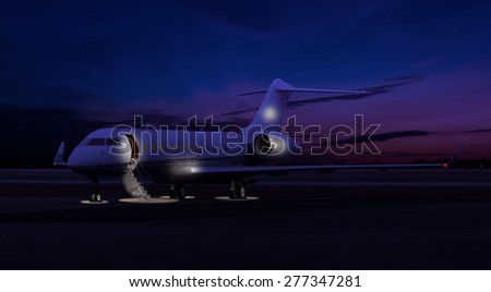 Private jet sitting at the tarmac  - stock photo