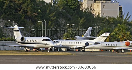 private jets on the ramp - stock photo