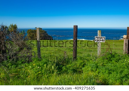 Private. Keep Out. A Sign Along the Northern California Coast - stock photo
