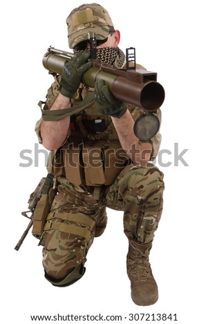 Private Military Company operator with RPG rocket launcher isolated on white