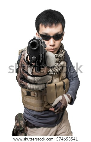 Private military contractor man with modern pistol gun weapon isolated on white background
