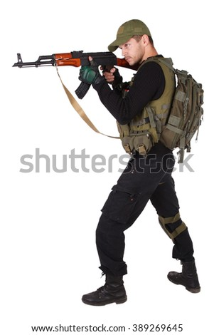 Private military contractor - mercenary with ak 47 gun - stock photo