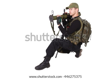 Private military contractor - mercenary with bazooka gun isolated on white