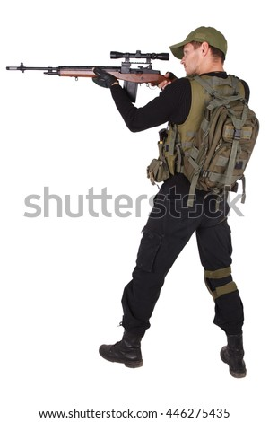 Private military contractor - mercenary with m14 sniper rifle isolated on white