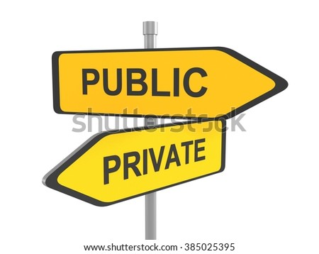 Private or public road sign, 3d illustration - stock photo