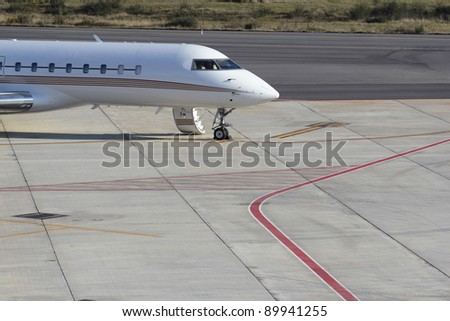 private plain on Vigo airfield - stock photo