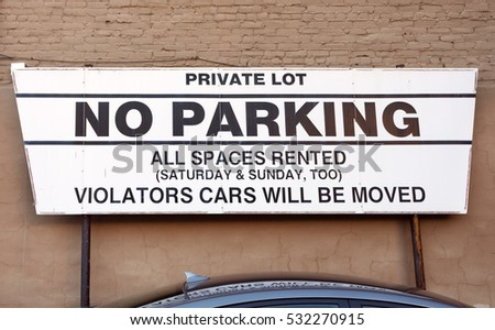 Private Property and Towing sign. Horizontal.