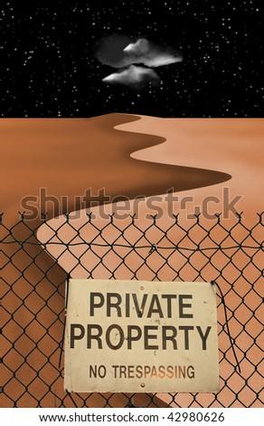 Private Property Desert - stock photo