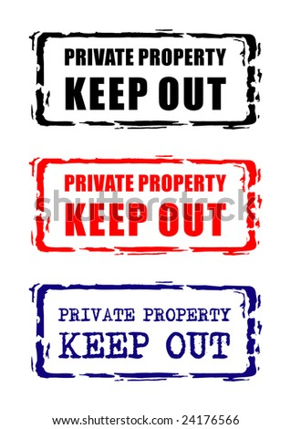 Private property stamp. Raster illustration isolated on the white background. - stock photo