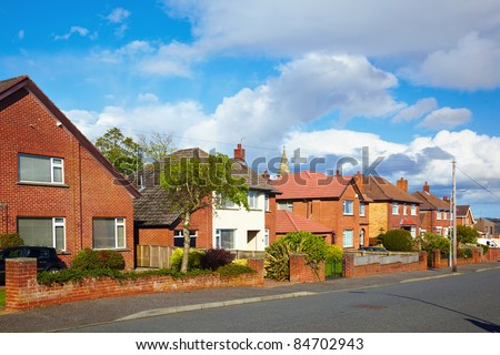 private sector of houses on the uptown of Belfast - stock photo