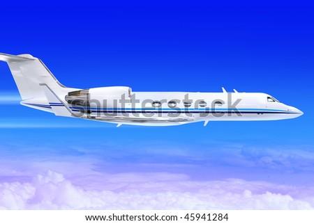 private white jet plane in the blue sky - stock photo