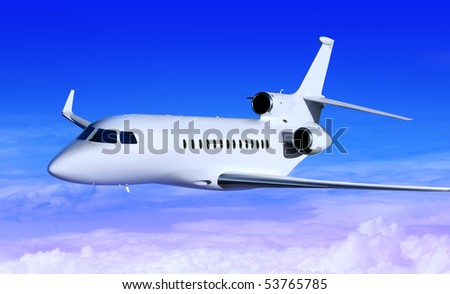 private white jet plane in the blue sky - stock photo