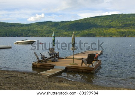 Private wooden dock on the Shuswap Lake, British Columbia, Canada - stock photo