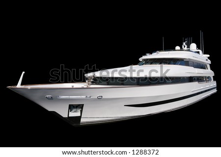 Private yacht. Black Background - stock photo