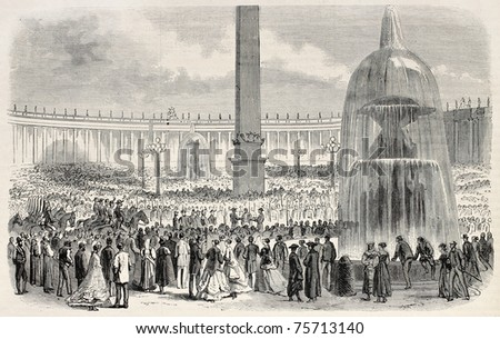 Prize giving ceremony to Vatican troops in Saint Peter's square, Rome.  Created by Janet-Lange and Cosson-Smeeton, after sketch of Scifoni, published on L'Illustration, Journal Universel, Paris, 1868 - stock photo