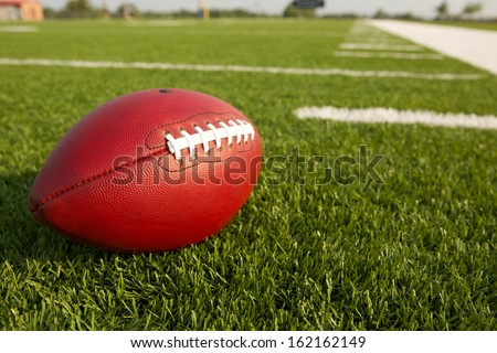 Pro American Football on the Field Close Up with room for copy
