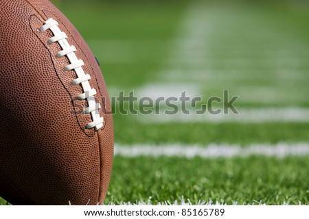 Pro American Football on the Field Close Up with room for copy, shot at shallow depth of field - stock photo