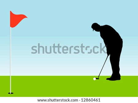 Pro golfer on the green about to put the ball - stock photo