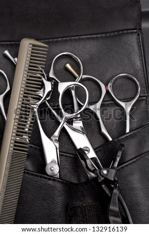 pro scissors in case and comb - stock photo