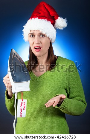 Probably going to be a gift return - a young woman upset with her Christmas gift. - stock photo