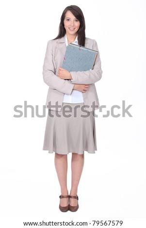 Probationer secretary on white background - stock photo