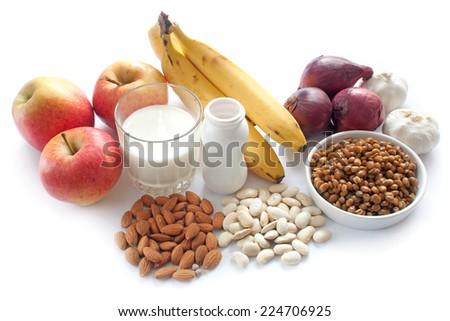 Probiotic (prebiotic) rich foods - stock photo
