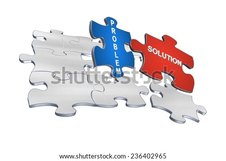 Problem and solution concept on 3D jigsaw puzzle - stock photo