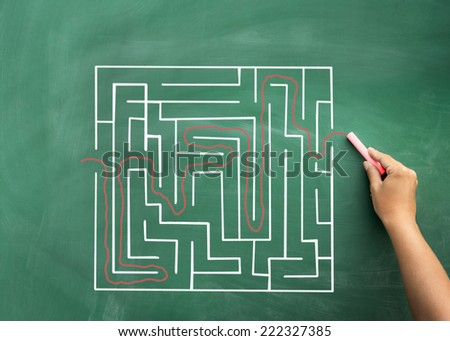 Problem and solution - person solving maze. Blackboard / chalkboard business concept. - stock photo