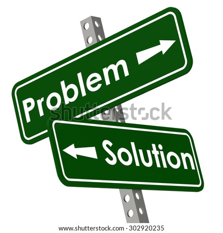 Problem and solution road sign in green color image with hi-res rendered artwork that could be used for any graphic design. - stock photo