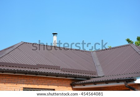 Problem Areas for Rain Gutter Waterproofing. Guttering, Gutters, Plastic Guttering. Guttering Down pipe Fittings. Rain gutter system and roof protection from snow board (Snow guard) on house roofing.