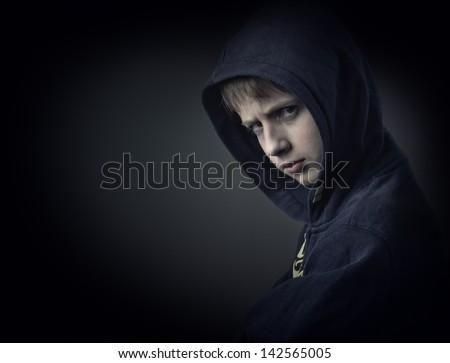 problem child on black - stock photo