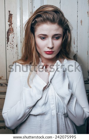problem depressioned teenage with messed hair and sad face, real junky - stock photo