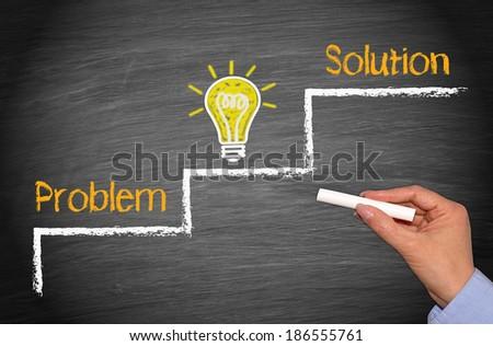 Problem - Idea - Solution - stock photo