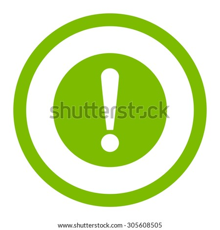 Problem raster icon. This rounded flat symbol is drawn with eco green color on a white background.