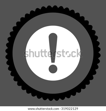Problem round stamp icon. This flat glyph symbol is drawn with black and white colors on a gray background. - stock photo