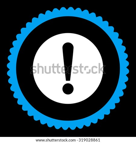 Problem round stamp icon. This flat glyph symbol is drawn with blue and white colors on a black background. - stock photo