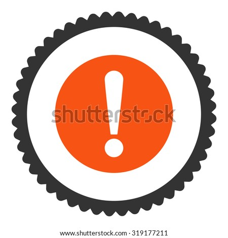 Problem round stamp icon. This flat glyph symbol is drawn with orange and gray colors on a white background. - stock photo