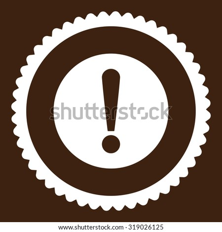 Problem round stamp icon. This flat glyph symbol is drawn with white color on a brown background. - stock photo